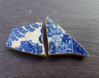 PAGODA SEA POTTERY ~ Sea Worn Pottery Pieces ~ Blue Willow Pattern ~ English ~ Willow & Apple Tree