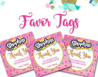 Shopkins Favor Tags, Shopkins, Shopkins Party Decor, Favor Tags, Shopkins Thank You tags, 3x3 Favor Tags, Pink and Gold, Shopkins Party
