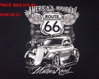 Adult  Fruit of the Loom T-Shirt with Route 66 Hot Rod Design