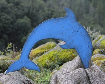 Rustic dolphin wood art