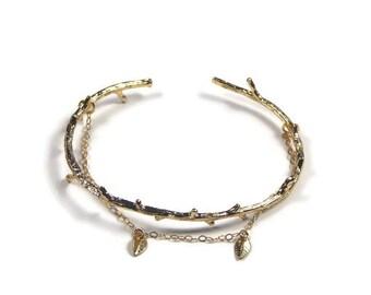 Gold plated 'twig'  bracelet