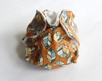 Leaf Diaper- Preemie Cloth Diaper - Organic cotton diaper - organic bamboo - hemp insert - one size fitted diaper - cotton velour