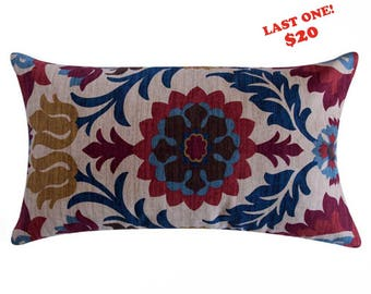 CLEARANCE Red, Blue Multicolor Mexican Throw Pillow Cover 12x20 Reversible Accent Pillow - Floral ZigZag Cinco de Mayo - Sedona WildFlower