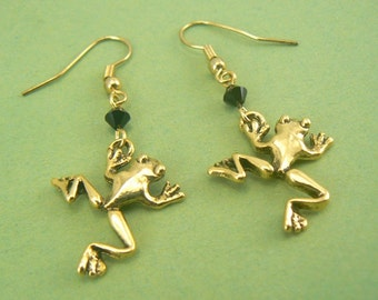Leaping Frogs Gold Pewter Dangle Earrings