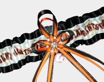 San Francisco Giants Baseball Garter Belt Perfect For Wedding Prom Bridal SF Souvenir Fans Collectors with Baseball Bead Charm