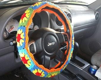 Crochet Steering Wheel Cover, Steering Wheel Cozy, Flower Steering Wheel Cover
