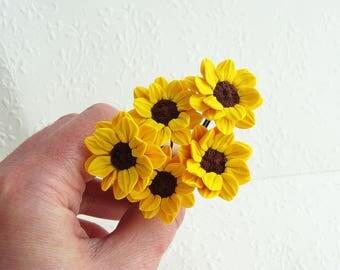 Bridal Bridesmaid Sunflower Hair Pins, Hairpins, Hair Accessories, Yellow Flower Hair Pin, Wedding Hair Flower, Bridesmaid Hair Accessories