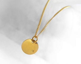 Delicate Gold Plated Initial Pendant Necklace, Hand Stamped Round Disc (9 mm), Curb Chain Necklace, Personalized Jewelry, Atigga