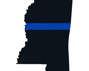 "BUY 2 GET 1 FREE - 2"", 3"", 4"", 5"", 6"", 7"" Mississippi Thin Blue Line Machine Embroidery Design - Blue Lives Matter Law Enforcement Love"