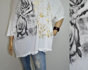 42 44 46 48 / 14 16 18 20 Italian Lagenlook T-Shirt Tunic Roses Plus Size White with Gold