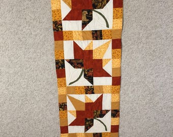 Table runner. Quilted table runner.   Fall autumn table runner.  Wall hanging.