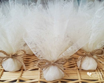 Wedding Favor Bags Lace Bombonieres Rustic Favors Greek bombonieres Ivory Lace Tulle Favors Twine Minimum order 20 pieces