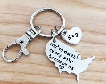 Long distance relationship gift boyfriend gift girlfriend gift hand stamped gift keychain personalized keychain anniversary gift
