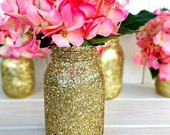 Gold Glitter mason jar. Wedding Centerpiece. Home Decor.