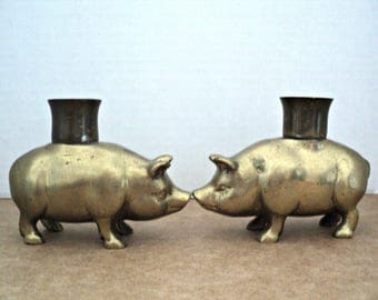 Brass Pig Candlestick Holders Set of Two Charming Pigs for Your Romantic Candlelight Dinner or Casual Pig Out Night A Whimsical Gift for Mom