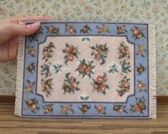 Dollhouse rug carpet kit, Miniature petit point needlepoint mat kit, 1:12 doll's house kit, 112 rug kit, 1/12 Aubusson kit, 1/12 carpet kit