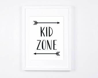 Kid Zone Nursery Art Printable, Black and White Playroom Decor Instant Download, Arrows Art, Gender Neutral, Monochrome Nursery