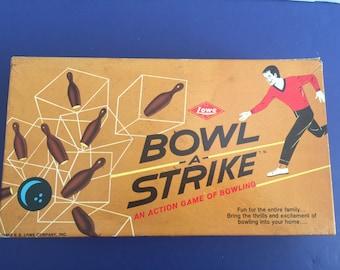 E S Lowe BOWL-A-Strike Board Game 1960's Era
