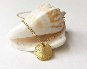 Small Gold Disc Necklace Small Gold Coin Necklace Gold Coin Pendant Tiny Gold Disc Necklace Gold Charm Necklace Layering Necklace Jewelry