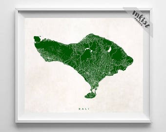 Bali Map, Indonesia Print, Bali Print, Indonesia Poster, Nursery Wall Art, Nursery Wall Decor, Bath Decor, Children Art, Dorm Decor