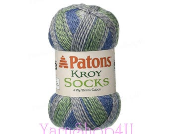 GREEN STRIPED RAGG Patons Kroy Sock Yarn. Wide Self Striping Super Fine Wool Blend Sock Yarn. The Colors are shades of Green, Blue and Grey