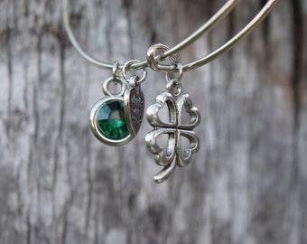 Four Leaf Clover Charm Bracelet, Adjustable Bracelet, Adjustable Bangle, Lucky Charm Bracelet, Irish Bracelet, St. Patrick's Day