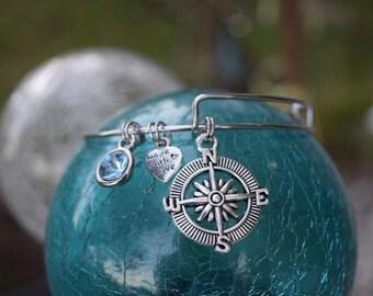 Compass Charm Bracelet, Adjustable Bracelet, North, South, East, West, Charm Bracelet