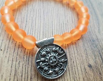 Neon bracelet, orange bracelet, zodiac bracelet, Boho bracelet, summer jewllery, elasticated bracelet, horoscope, Neon bangle, gift for her