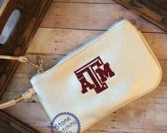 Aggie bag, Aggie Gift, Texas A&M, Aggie graduation gift, Aggie clutch, Aggie Wrislet