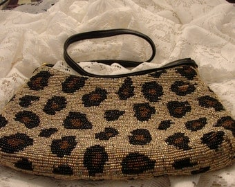 Vintage Beaded Animal Print Purse With Leather Strap