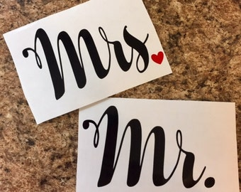 Mr. and Mrs. Vinyl Decal Set | OUTDOOR vinyl listing   ~