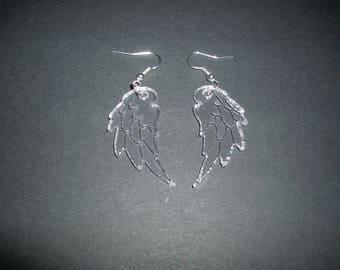 Earrings, leaf, acrylic glass