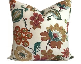 Pillow cover, Orange throw pillow, Decorative pillow, Floral pillow, Orange accent pillow, Couch cushion, Sofa pillow, 20x20, 22x22