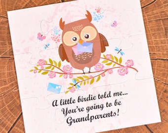 Pregnancy announcement puzzle, baby announcement, new baby, new parents, baby expecting,  A little bird told me, going to be grandparents