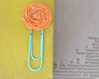 Orange & Mint Jumbo Paper Clip. Rosette Paper Clips. Planner Clips. Teacher Gift. Jumbo Planner Clips. Teacher Gift. Gift under 5. Planner.