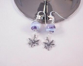 Purple Beaded Flower Earrings - Fashion Jewelry - Dangle Earrings - Gift for Her - Purple Earrings - Flower Earrings - Handmade