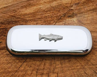 Brown Trout Designed Glasses Spectacle Metal Case Fishing Gift FREE ENGRAVING