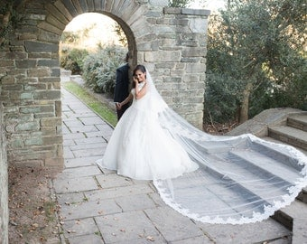 SALE - Italian Designer Wedding Dress 100% Silk Organza and Lace - Size 10 - Ball Gown / A Line Unique Gown - Italy