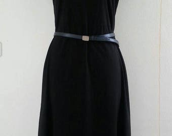 Vintage Black Cotton day dress Size M