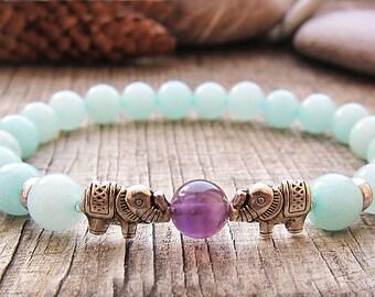 Elephant bracelet Mala Bracelet Bead Bracelet Stone Jewelry Buddhism bracelet Yoga Bracelet Fertility Bracelet Girlfriend gift birthday gift