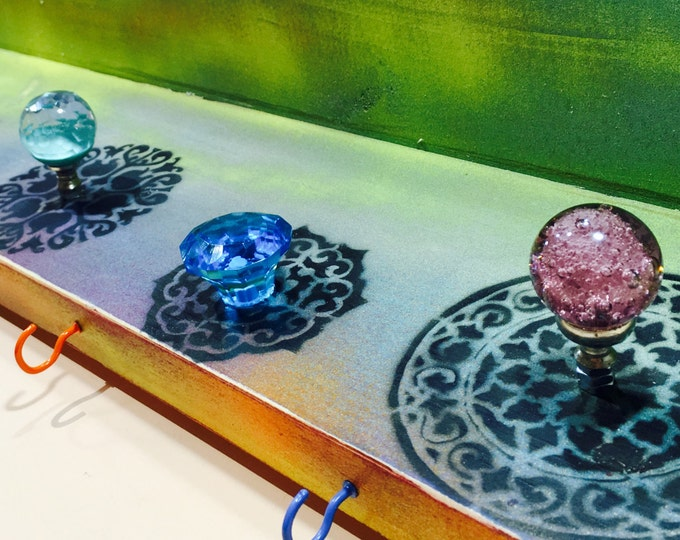 floating nightstand/ wall hanging vanity /custom wooden shelves boho bedroom organizer painted mandalas decor 7 glass knobs 8 colorful hooks