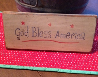 God Bless America USA patriotic veteran rustic board sign primitive decor