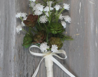 Rustic Boutonniere Groom Boutonniere Groomsman Boutonniere  Mens Wedding  Boutonniere  Wedding  Ivory Boutonniere