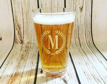Monogrammed Pint Glass // Beer Glass // Custom Pint Glass