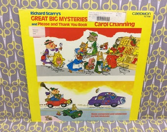 Richard Scarrys Great Big Mystery Book Vinyl Record Album LP read by Carol Channing Abridged Please and Thank You book