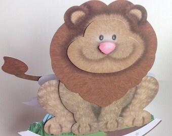 Handmade Decoupaged Cute Lion Card