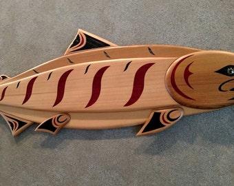 King Salmon Chinook fish wood carving Pacific Northwest coast native art style wall hanging. Cabin decor Lodge decor handmade wildlife art