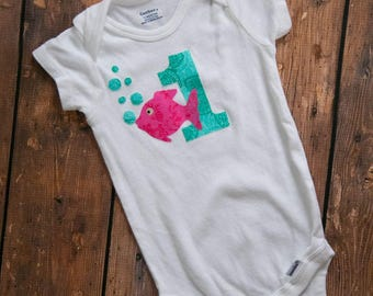 Pink and teal little fishy 1st birthday outfit