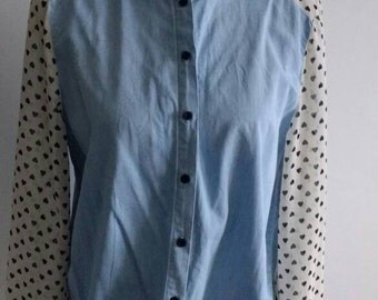 Soft denim shirt with heart sleeves
