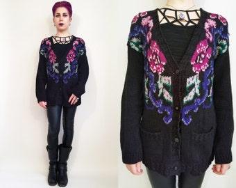 90s Clothing Floral Sweater Vintage 90s Black Cardigan Sweater Black Pink Purple Green Floral Sweater Flower Sweater Slouchy Cardigan Size S